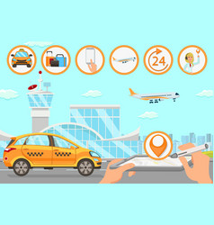 Taxi services in airport flat vector