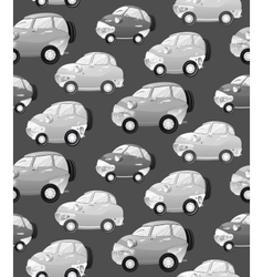 Texture with cute monochrome cartoon car with the vector image