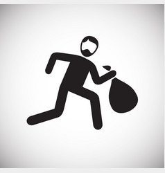 Thief running on white background vector