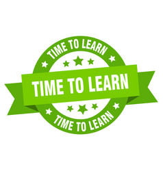 time to learn ribbon time to learn round green vector image