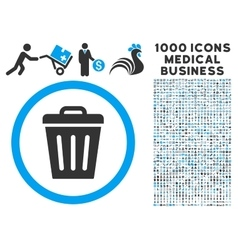 Trash Can Icon with 1000 Medical Business Symbols vector