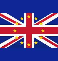 uk flag with eu stars vector image