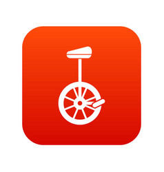 Unicycle icon digital red vector