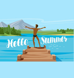 Vacation travel journey concept hello summer vector