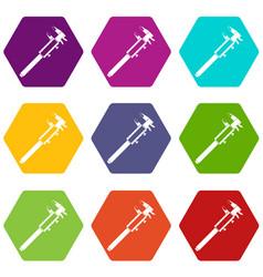 vernier caliper icon set color hexahedron vector image