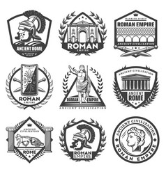 Vintage monochrome roman empire labels set vector