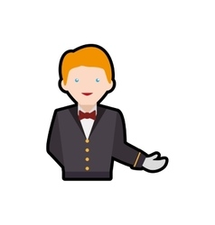 Waiter male avatar suit person icon vector image