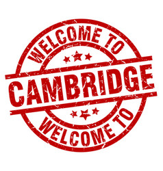Welcome to cambridge red stamp vector