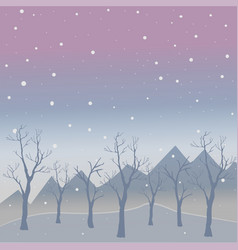 winter tree with few berries and red birds on a vector image