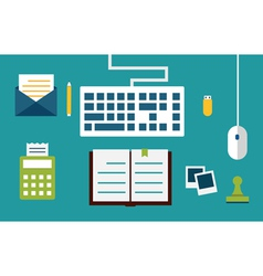 Workplace with equipment and documents for network vector