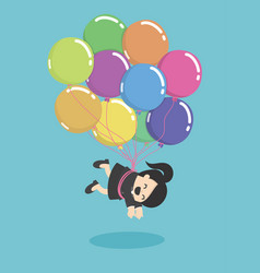 Businesswoman flying with balloons over vector