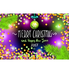 Glowing color Christmas Lights Wreath for Xmas vector image