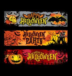 halloween set of horizontal grunge banners vector image vector image