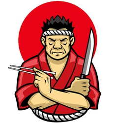 japanese chef crossing arm vector image vector image