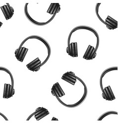 realistic 3d black earphones seamless pattern vector image vector image
