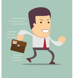 Smiling businessman running to work vector image vector image