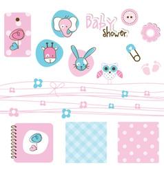 Baby shower design elements vector image