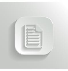 Document icon - white app button vector image