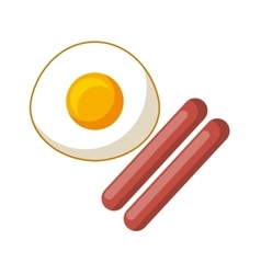 eggs and sausage icon vector image