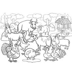 farm animals cartoon for coloring book vector image vector image