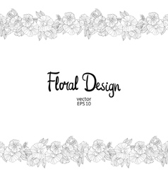 Floral border made with sketchy flowers vector image vector image