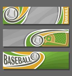 horizontal banners for baseball vector image vector image