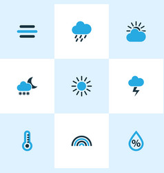 Nature colored icons set collection of blizzard vector