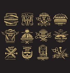 old barbershop emblems and labels vector image vector image