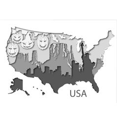 Paper map of USA with different leyers vector image