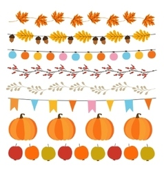 Set of cute autumn fall garlands with lights vector image vector image
