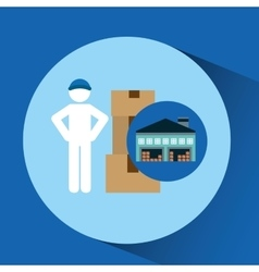 warehouse building man worker package vector image