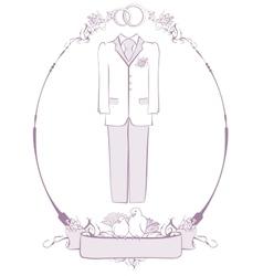 Wedding groom suit in frame vector image