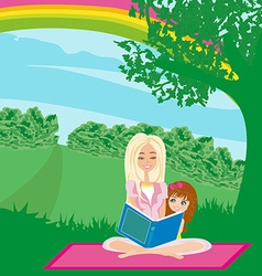 A mother reading a book with her daughter vector image