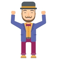 Circus performer standing with raised arms up vector