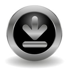 Metallic download button vector image vector image