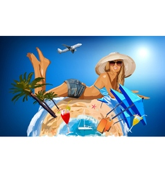 Young woman on sunny beach vector image vector image