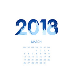 design template calendar 2018 vector image