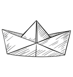 doodle of paper boat vector image
