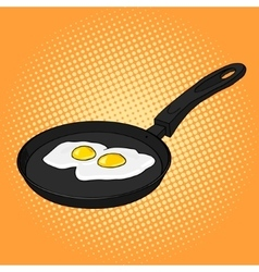 Pan with eggs pop art style vector image