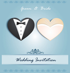 wedding card in the form of heart vector image vector image