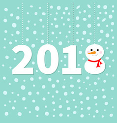 2018 happy new year cute snowman hanging dash vector image