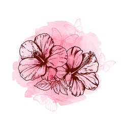 abstract floral background with hibiscus flowers vector image