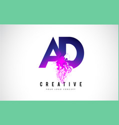 Ad a d purple letter logo design with liquid vector