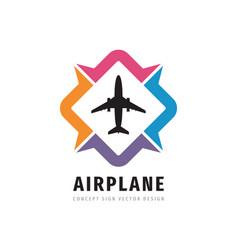 Airplane concept logo design travel direction vector
