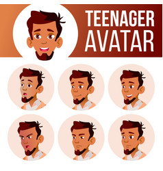 arab muslim teen boy avatar set face vector image