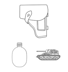 Army and armament outline icons in set collection vector