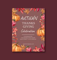 Autumn themed poster design with pumpkin concept vector