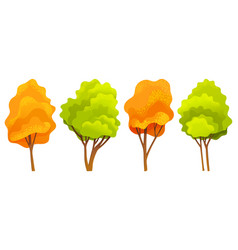 Autumn tree collection different sizes and forms vector