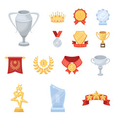 Awards and trophies cartoon icons in set vector