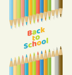 back to school color pencil background top view vector image